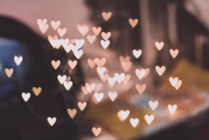 Bokeh image of hearts