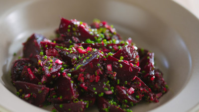 Chef Thomas Keller's roasted beets in bowl