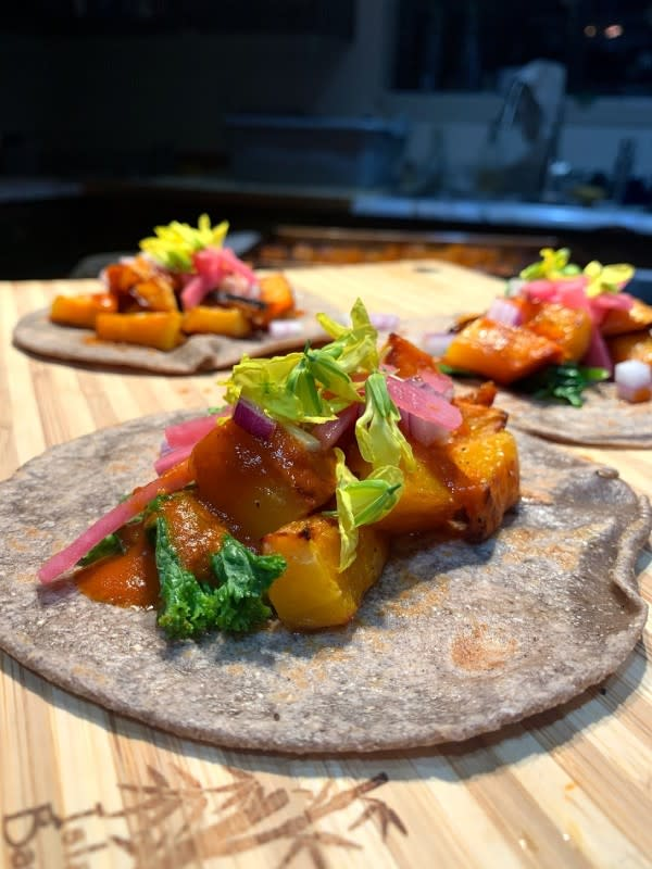 Butternut Chile Tacos on Blue Corn Tortilla by Fallon Bader