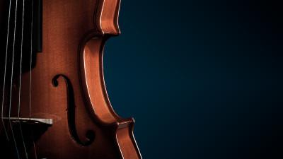 Violin upclose with dark blue background