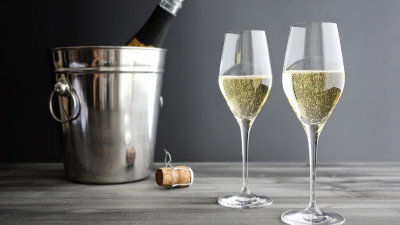 Champagne in glasses and bucket