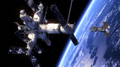 Mir spaceship in space near planet earth