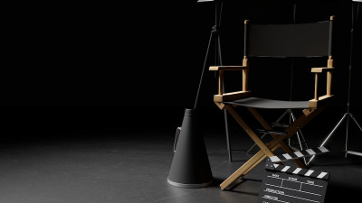 Director's chair with movie clapperboard