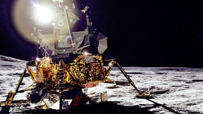 Space ship on the moon with light