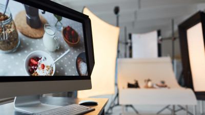 Computer in front of photoshoot for food