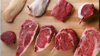 types of raw meat on wood