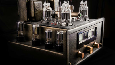 guitar tube amplifier on black background