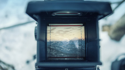 mountain range through camera screen