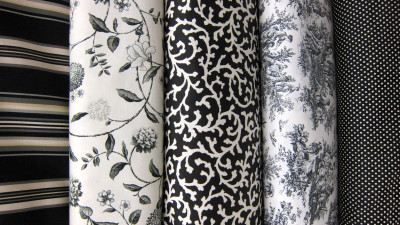 Various black and white fabric types
