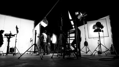 Film set with lighting black and white