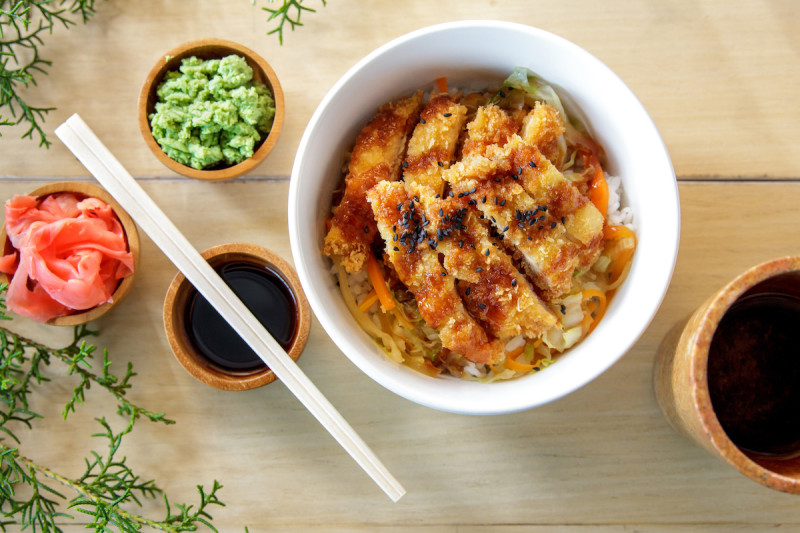 Chicken katsu with condiments