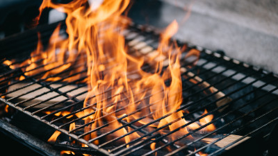 BBQ grill with fire