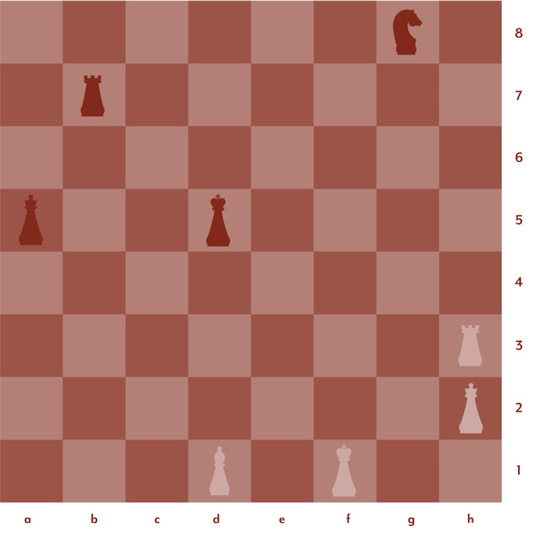 Graphic of chess setup in red and pink