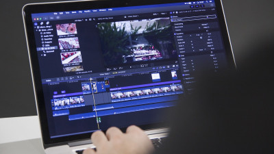 Computer with film editing software