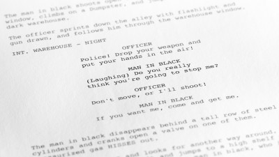 close up of a formatted screenplay