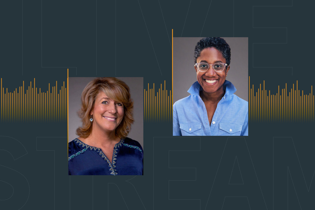 Set against a dark blue background with soundwaves in Audible's signature orange are headshots of the two speakers of the LinkedIn Live, Anne Erni, Chief People Officer, and Ara Tucker, Head of Talent and Culture.