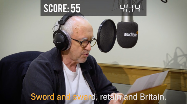 Jonathan Pryce sits at the microphone testing his oral dexterity in Audible UK's Tongue Twister Challenge.