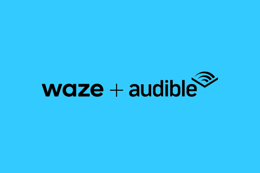 The two logos, Waze + Audible, are in black font against a sky blue background.