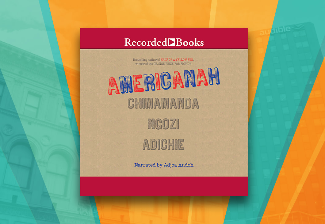 The cover art for Americanah that features the word Americanah in blue and red lettering on what appears to be a cardboard background. Chimamanda Ngozi Adichie's name is placed right underneath the title in light grey lettering.
