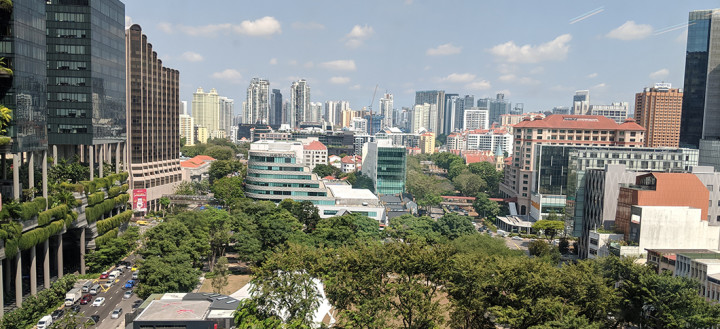 The skyline of Singapore as viewed from Jai's office