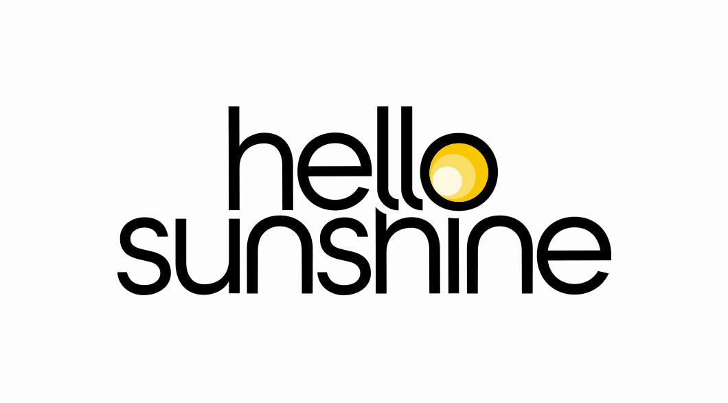 the words Hello Sunshine on a white background