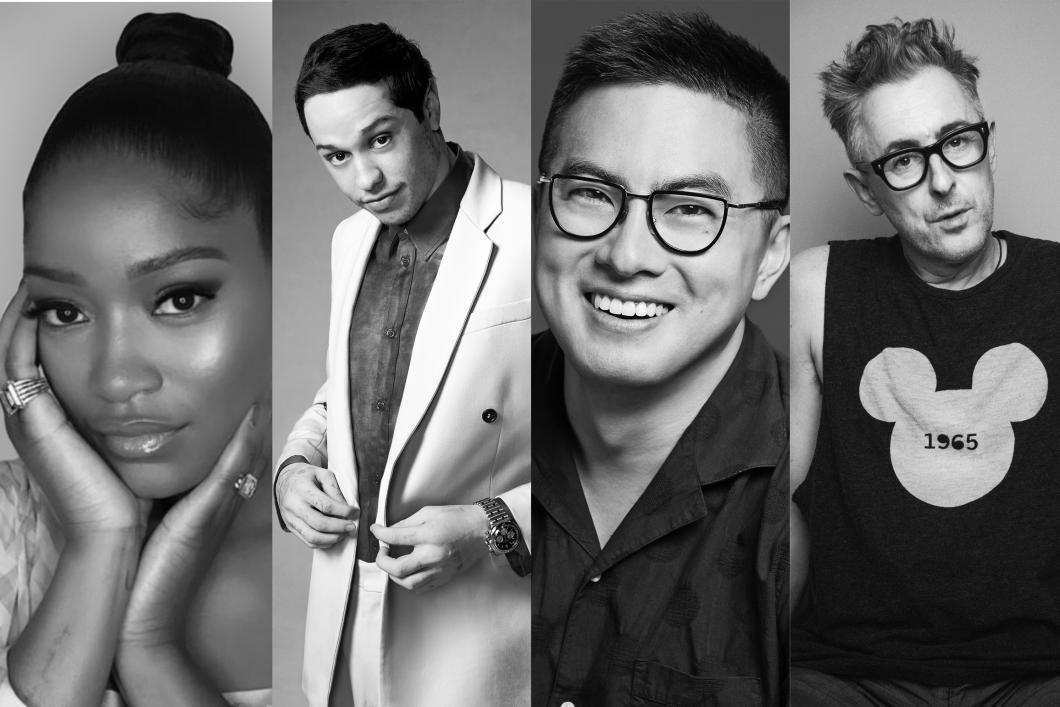 Four black and white images of celebrities, Keke Palmer, Pete Davidson, Bowen Yang and Alan Cumming, are situated side by side. Keke has her hands framing her face; Pete is peeking up to the camera as he button his suit jacket; Bowen smiles brightly with dark-rimmed glasses; and Alan pierces straight at the camera wearing dark-rimmed glasses and an image of Mickey Mouse on his black shirt.