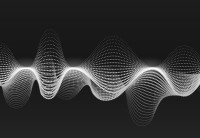 White audio soundwaves against a black background