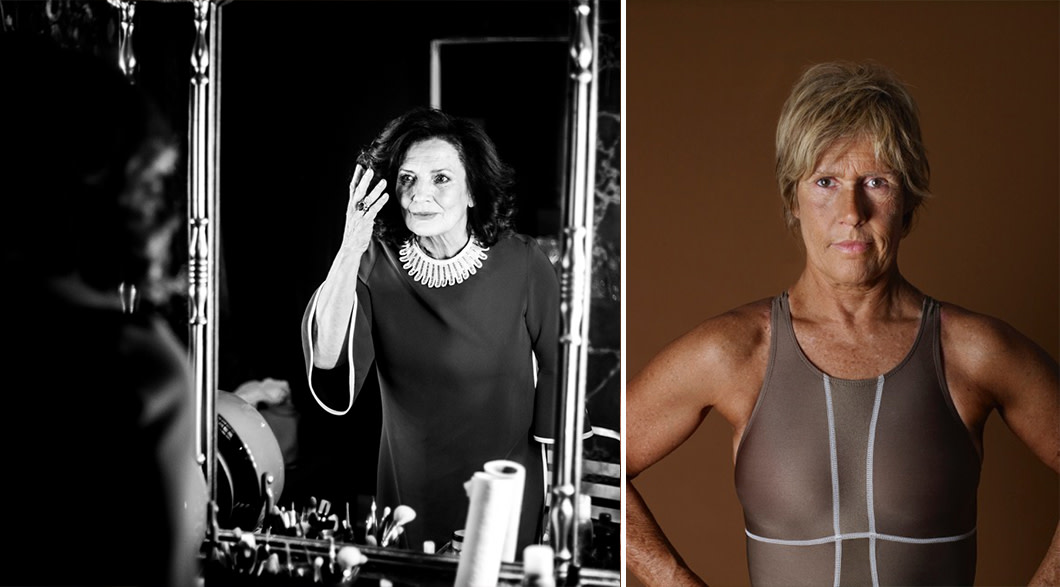 Margaret Trudeau, wearing a black dress with a white collar, examines her reflection in a mirror. In a side by side photo, Diana Nyad stands in a bathing suit staring directly at the camera with her hands on her hips.
