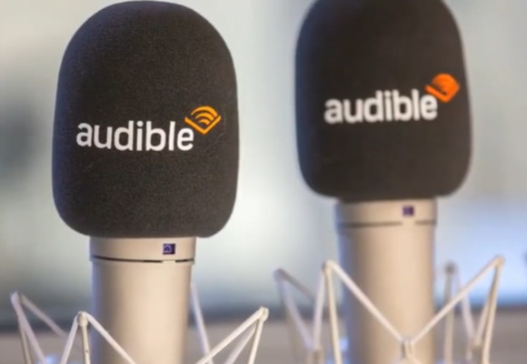 Two microphones with the Audible logo