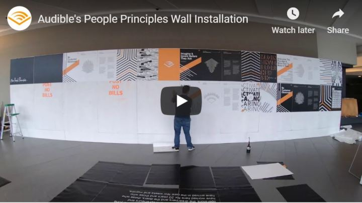 Located in Audible Headquarters in Newark, NJ, this installation provides a distinctive representation of our People Principles and the foundation of brand in the spoken word.
