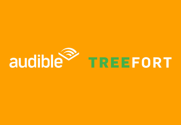 The Audible and Treefort logo sit side-by-side, white text against an orange background. Aubible's logo has a chevron at the end. The tree in treefort is green.