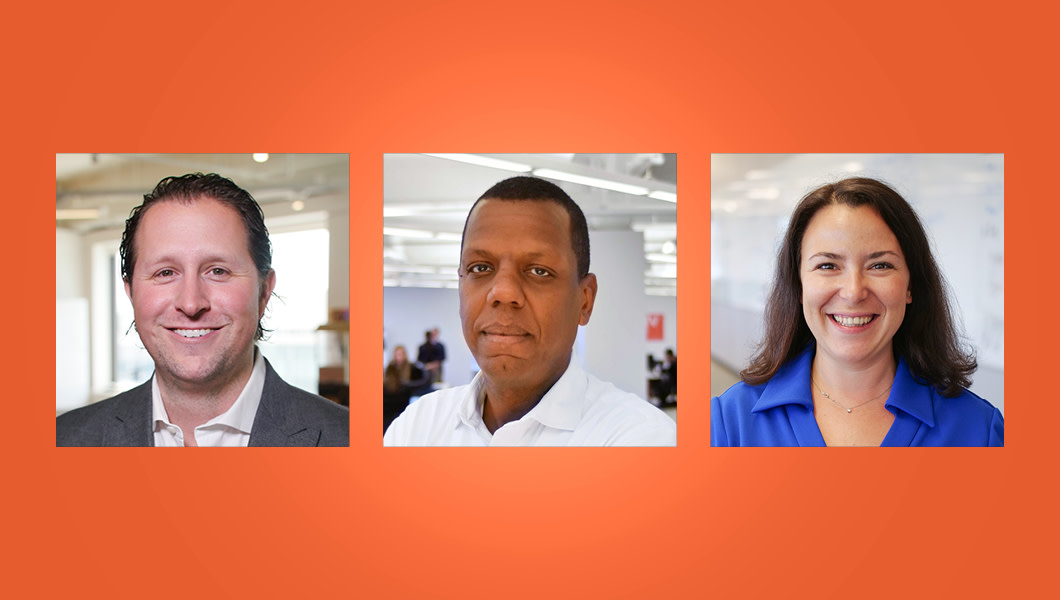 Headshots of the three NVP startup founders appear against an orange background