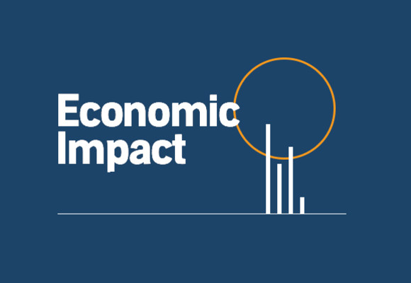 "The words ""economic impact"" appear in white against a blue background. A few bars of a chart with an orange circle above them are to the right of the letters."