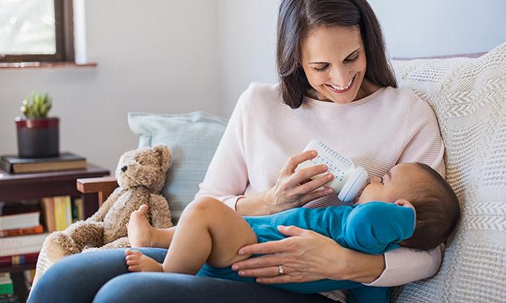 Feeding a baby with formula milk