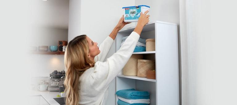 Mom making laundry area safe