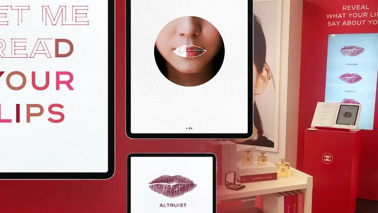 Read My Lipsのモバイルアプリと店内に設置されたディスプレイ