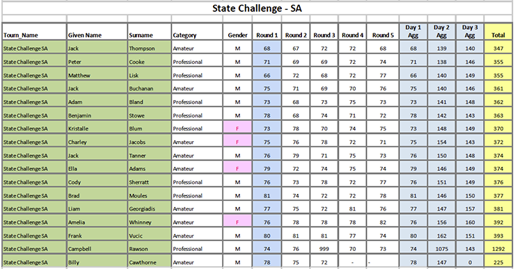 State Challenge SA results
