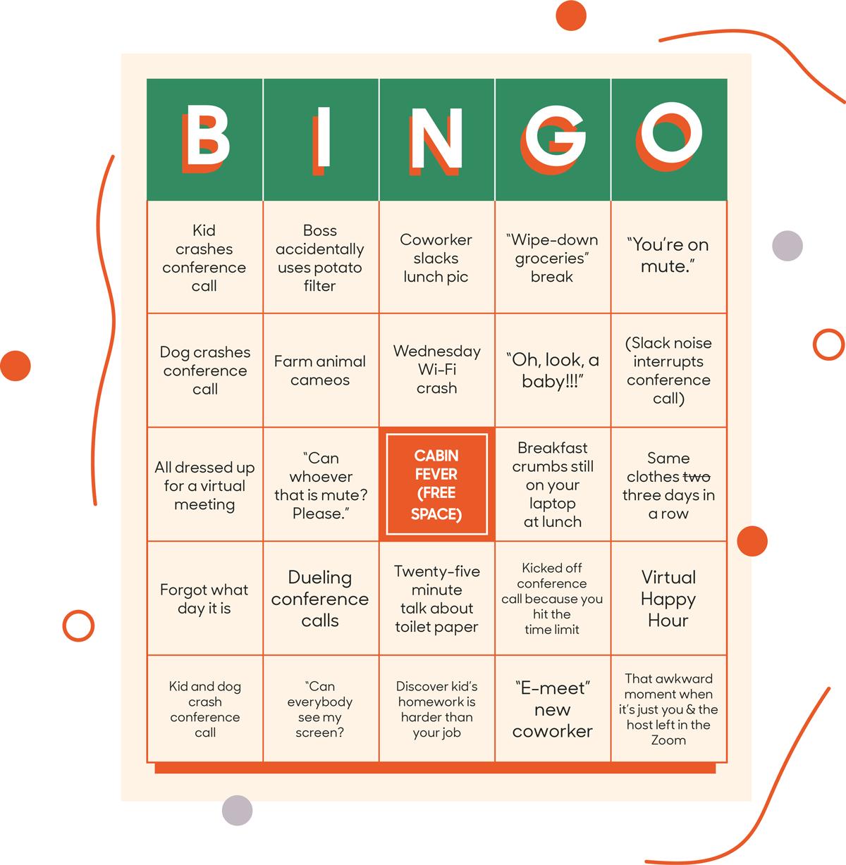 Take a break with our WFH bingo game