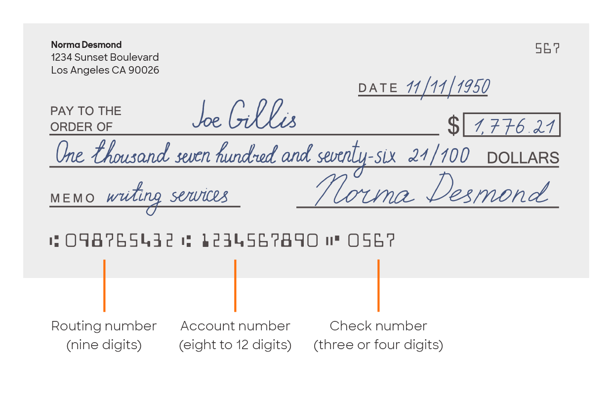 Check with routing number