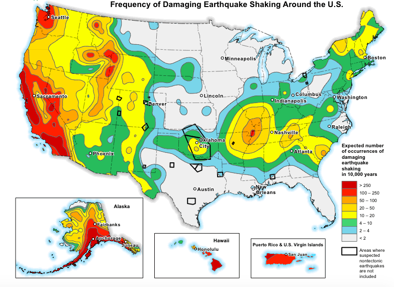 USGS seismic hazards map