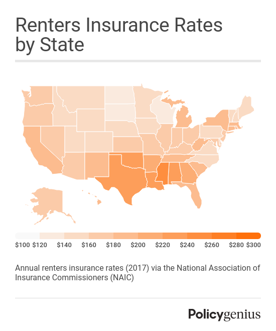 Renters insurance map