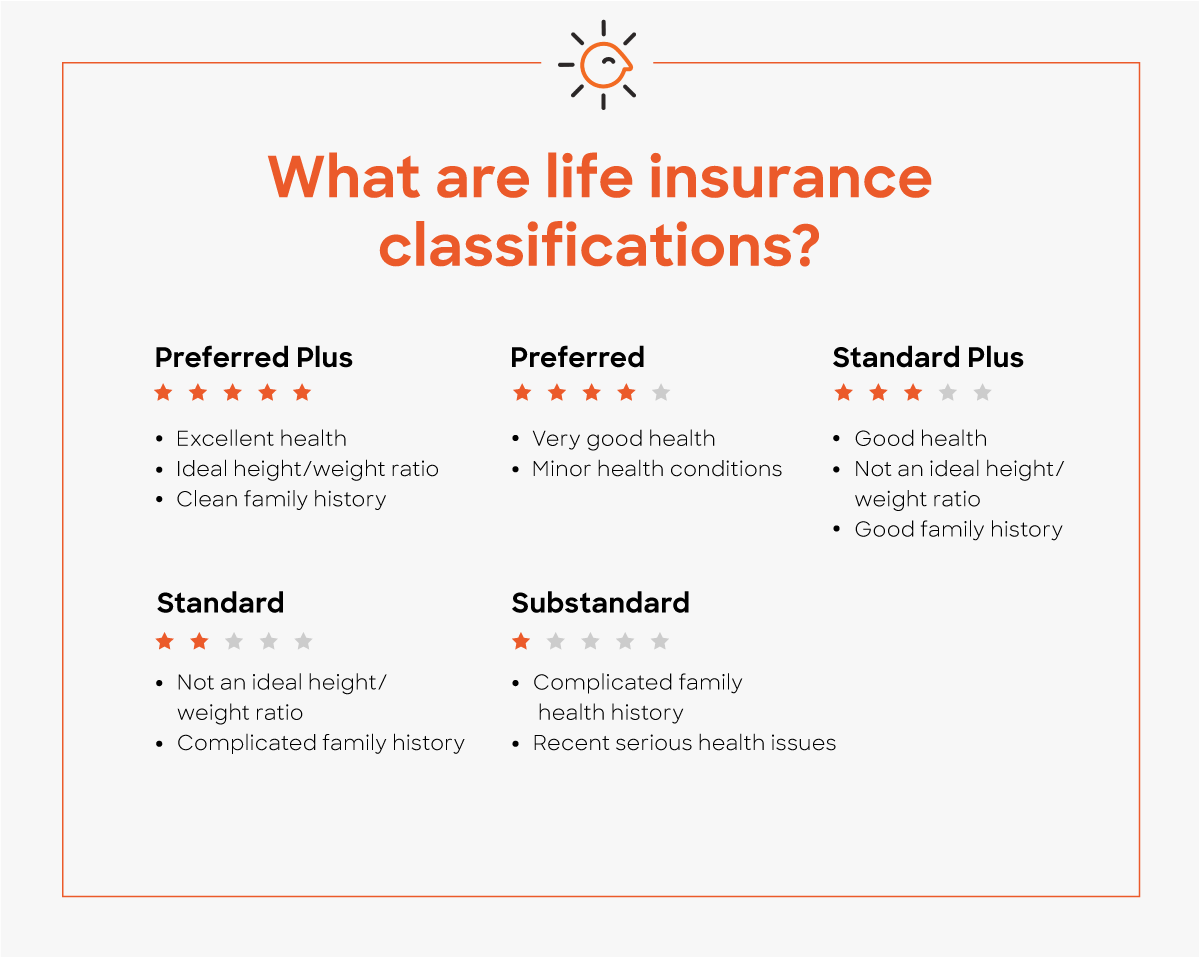 life insurance classifications range from Preferred Plus to Substandard and help insurance companies rate your health and price your policy