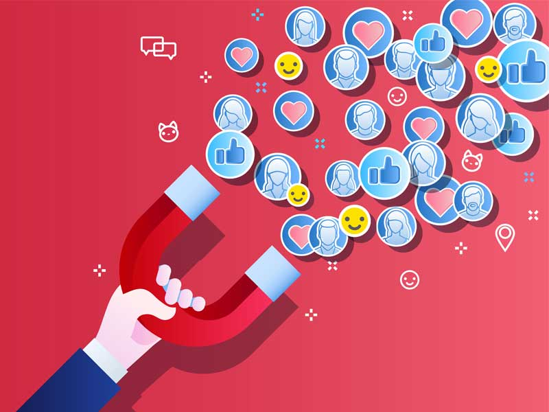 Magnet attracting social media icons