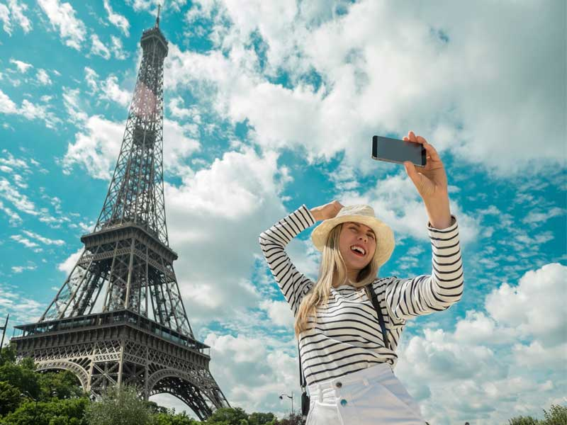 Female tourist standing in front of Eiffel tower