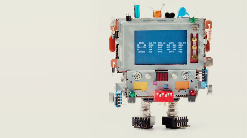 robot with error message on screen