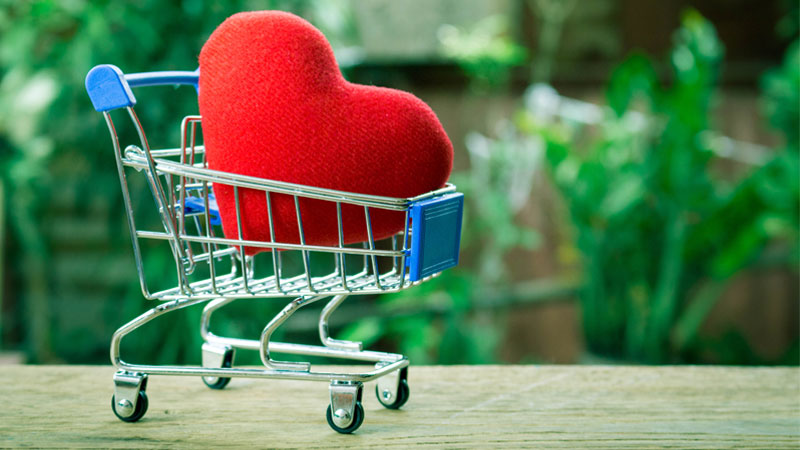 red heart in a mini shopping cart