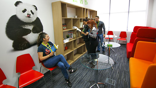Team members in a meeting room reading books