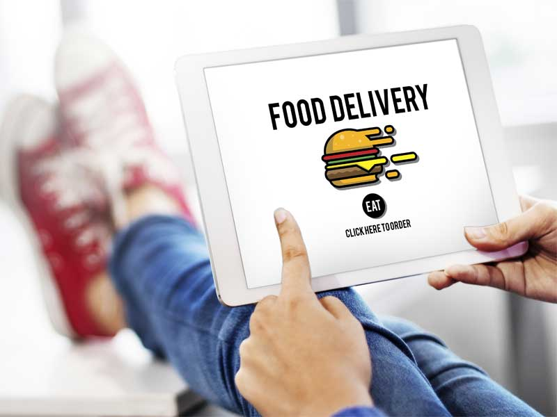Placing food order on ipad
