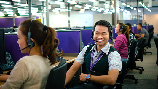 Man in a call center office
