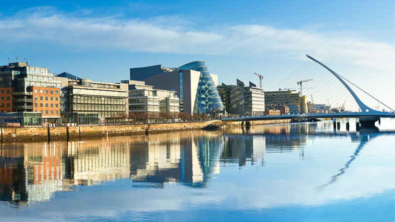 city view of modern buildings in Dublin, Ireland.